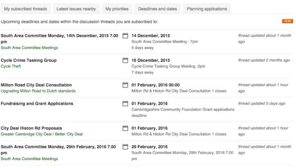 Deadlines listing