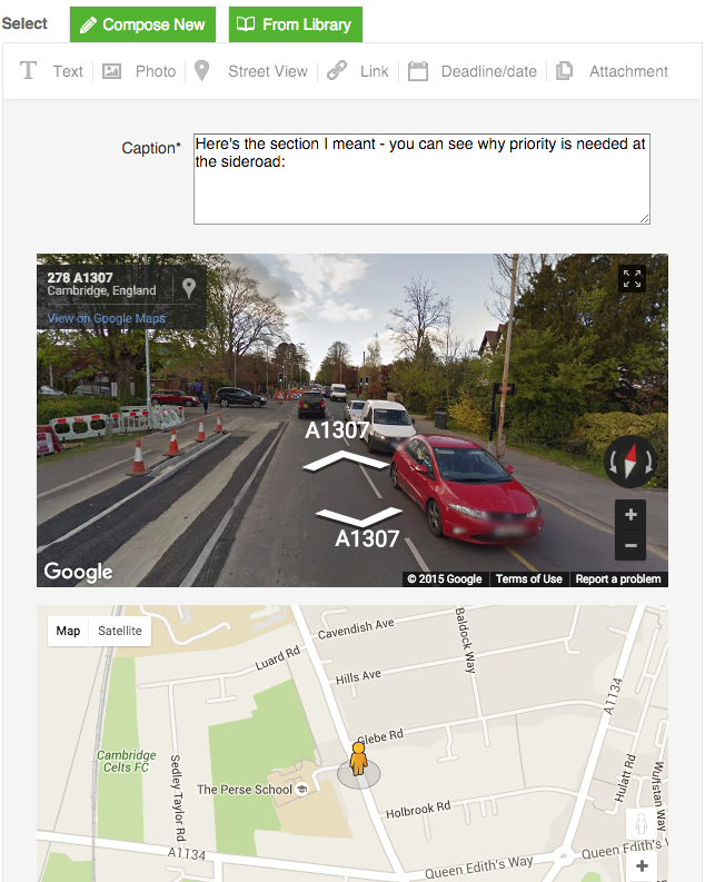 Street View messages
